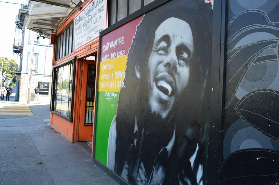 colorful mural of Bob Marley, street art in San Francisco's Haight Ashbury neighbourhood