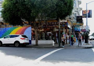 gay pride rainbow street art in San Francisco