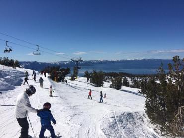 kids learning to ski on the slopes in Lake Tahoe
