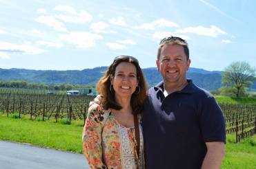 couple happy and smiling in Napa Valley vineyard