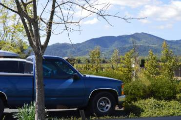blue pick up truck in Napa Valley with hills and vineyards in the background