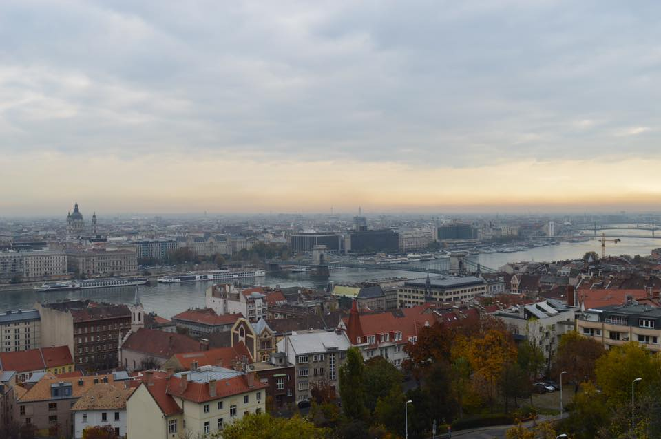 Budapest, Hungary from a sky view overlooking the Danube and the Parliament