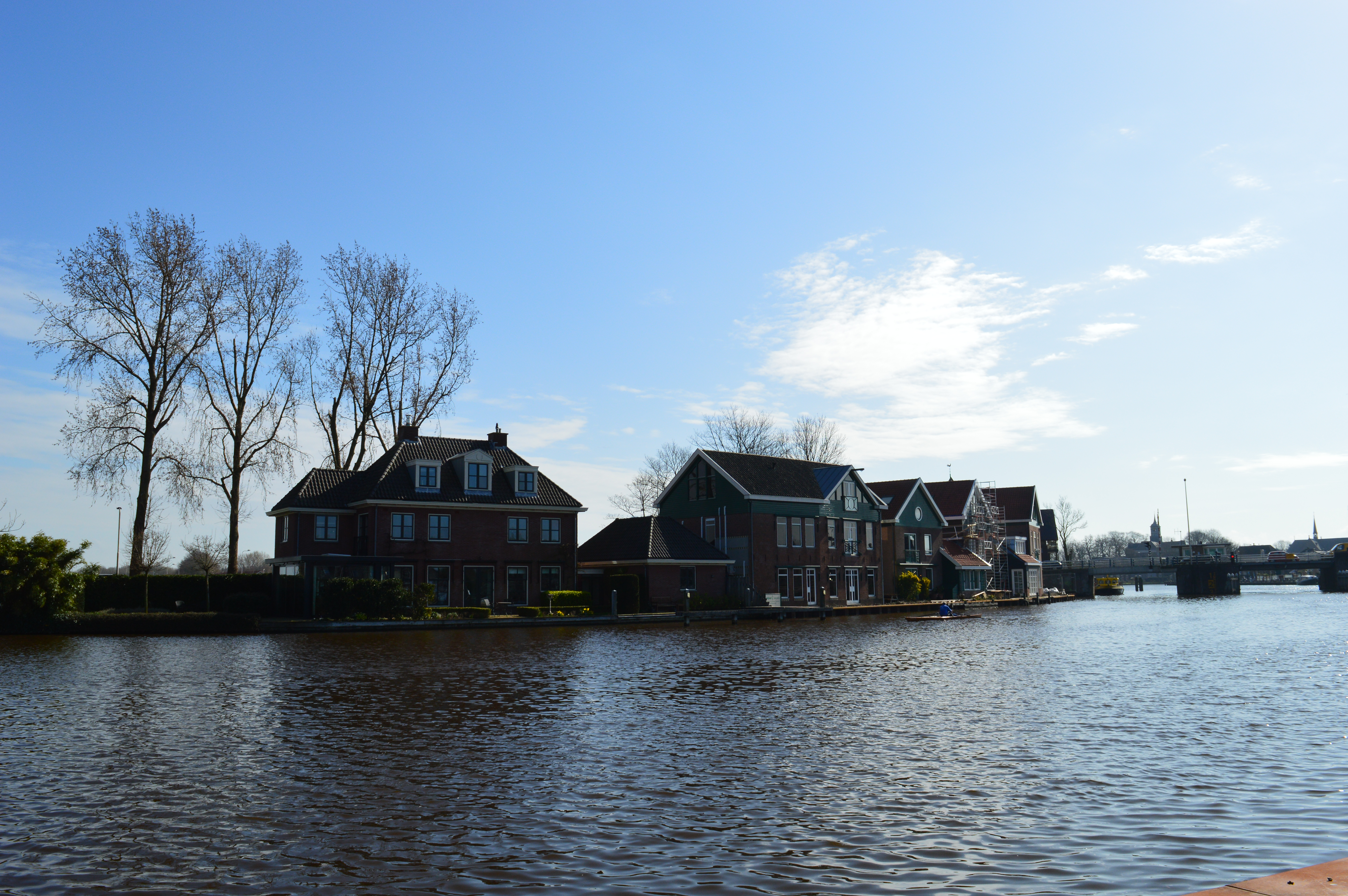 A sunny day on the Amstel river in Amsterdam, the Netherlands