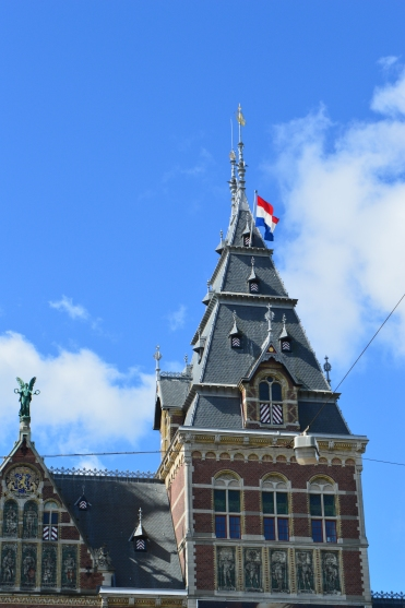 dutch flag on the Rijksmuseum building in Amsterdam on Liberation Dat 75th anniversary