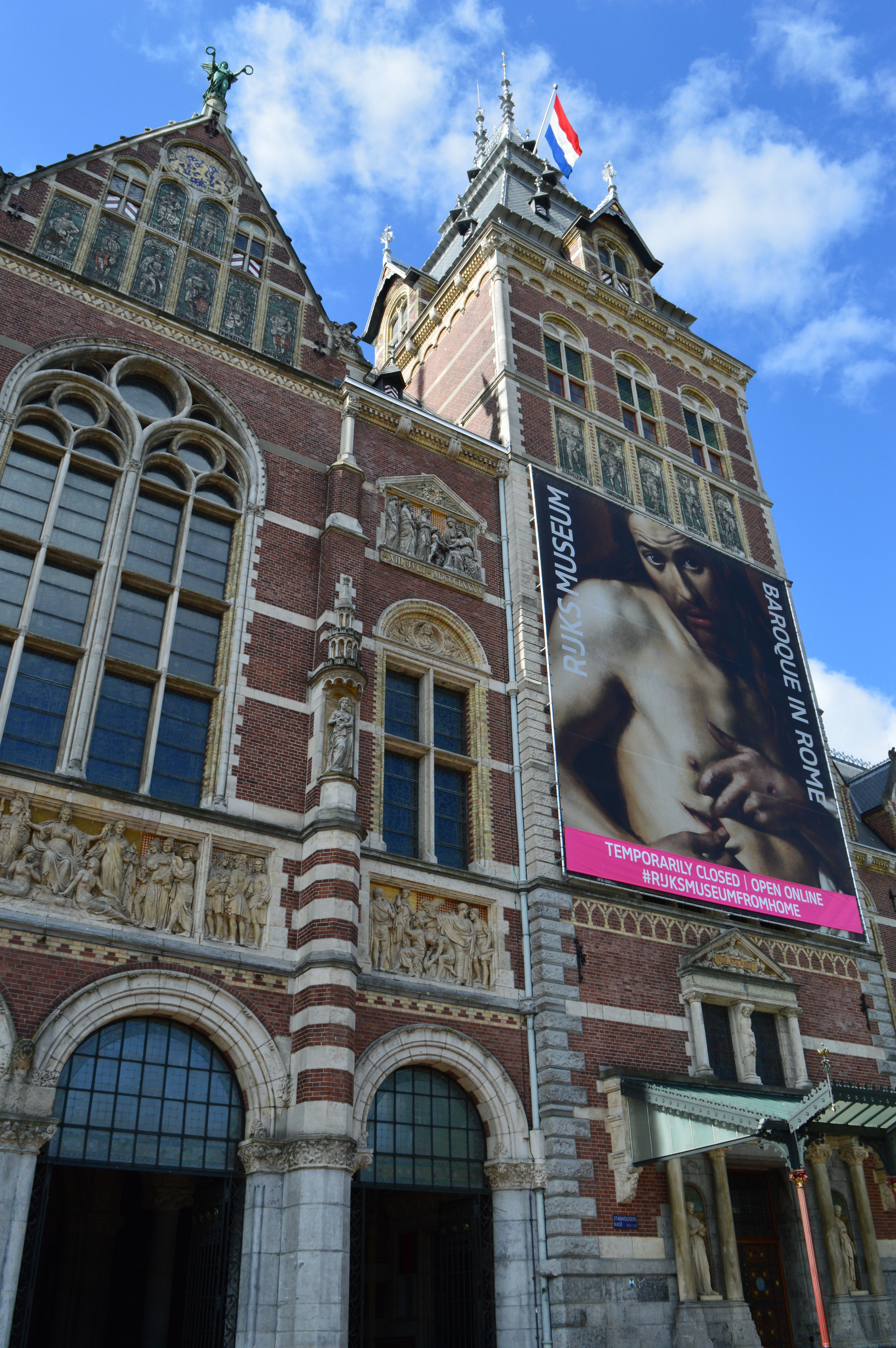 a sunny day at the rijksmuseum in Amsterdam